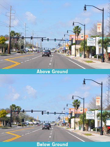 Photos of Fairbanks Avenue in Winter Park, Fla. before and after project completion.