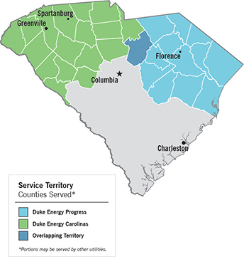 SC Map showing Duke Energy Carolinas and Duke Energy Progress Services Areas.