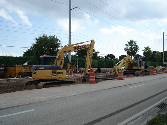 Undergrounding transmission lines activity showing construction work at street level