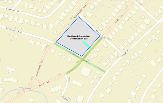 Map of area around Kenilworth substation in Charlotte, NC where traffic will be temporarily stopped.