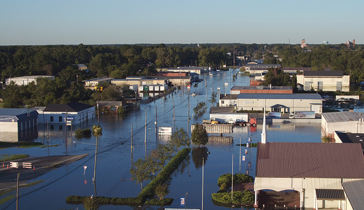 Flooded North Carolina town following hurricane-driven rain.