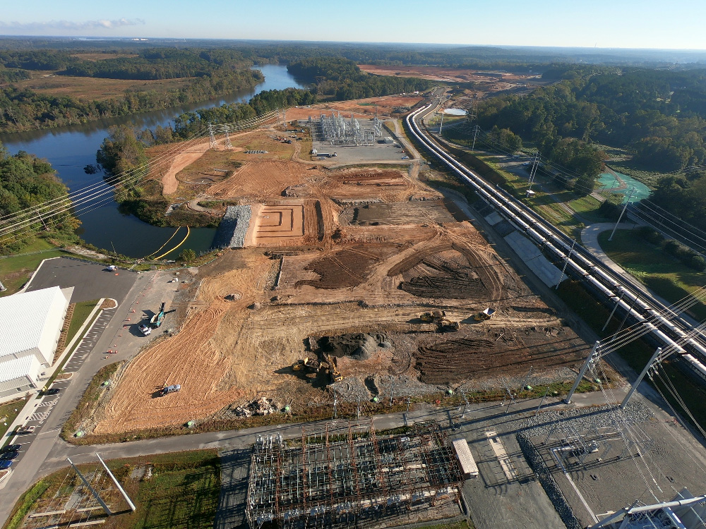 Aerial view of Riverbend Steam Station site restoration.