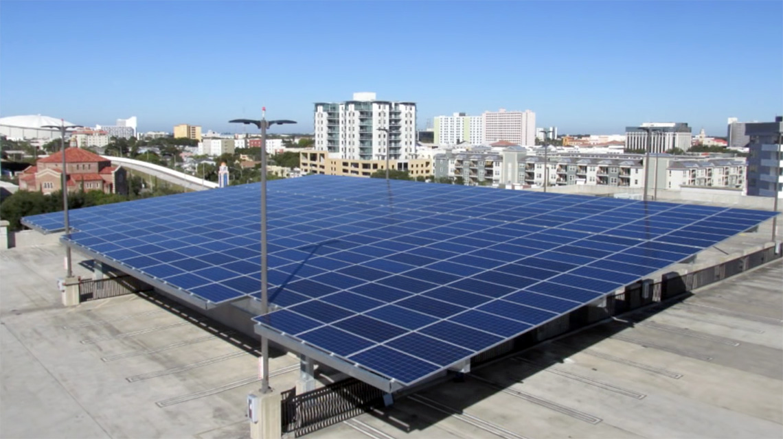 Solar array atop parking deck