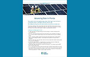 Reduced image of the Advancing Solar in Florida factsheet