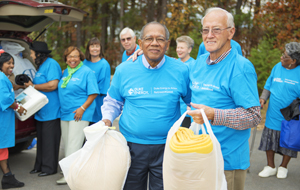 Retirees at volunteer event